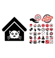 Cat House Flat Icon with Bonus vector image