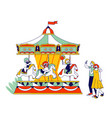 children riding merry-go-round entertainment vector image