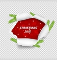 christmas sale banner ripped paper hole vector image