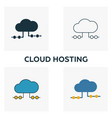 cloud hosting icon set four elements in diferent vector image vector image
