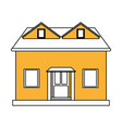 color silhouette cartoon yellow facade house with vector image vector image