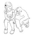 cute kid line art vector image