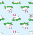 cute lovely cartoon bunny rabbit and carrots vector image vector image