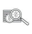 dollar coins and magnifying glass zooming tool vector image vector image