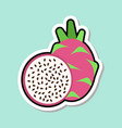 dragon fruit sticker on blue background colorful vector image vector image