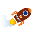 Flying cartoon brown rocket isolated on white vector image