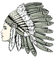 Girl in indian headdress vector image vector image