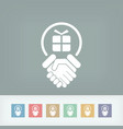 handshake for gift icon vector image
