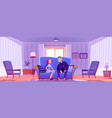 happy couple young man and woman sit on couch vector image