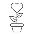 heart in flowerpot thin line icon heart shaped vector image