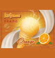 ice cream cone with orange vintage advertising vector image vector image