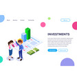 isometric investment concept vector image vector image