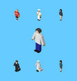 isometric person set of medic policewoman guy vector image vector image