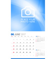 June 2017 Wall Monthly Calendar for 2017 Year vector image vector image