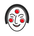 korean mask with drawn face and red circles vector image