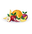 melon apple fruit on white background healthy vector image vector image