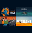 Migrant banner set cartoon style