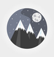 mountains under the full moon vector image vector image