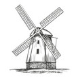 old windmill architectural vintage building hand vector image