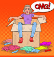 pop art stressed woman in box with clothes vector image vector image