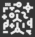 Road direction icon set grey vector image
