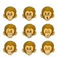 Set of monkey face with different emotions vector image