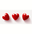 set red 3d hearts isolated on a transparent vector image vector image
