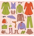 set retro woman clothes vector image