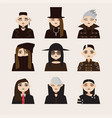 set with avatars of gothic man in hats vector image vector image