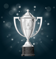 Silver cup with laurels - first place award vector image vector image