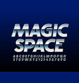 silver emblem magic space with steel font vector image vector image