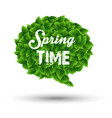 springtime greeting in a speech bubble vector image vector image