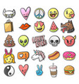stickers pins patches collection in cartoon vector image vector image