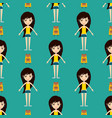 street fashion girls models wear seamless pattern vector image