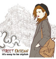 stylish girl with hat on street vector image vector image