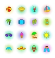 Summer icons set pop-art style vector image vector image