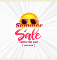 summer sale banner with sun and sunglasses vector image vector image