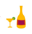 tequila bottle and wineglass flat vector image