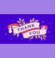thank you retro greeting card vector image vector image