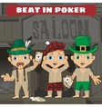 three cowboys beat in poker in saloon vector image vector image
