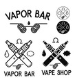 Vape shop and bar logos vector image