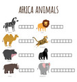 word game for kids how named african animals vector image vector image