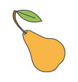 yellow pear with green leaf close-up flat design vector image