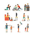 flat icons set of fathers with children vector image