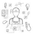 Professional electrician with tools and equipment vector image