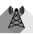 antenna sign black icon with vector image vector image
