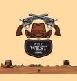 banner on theme wild west vector image vector image