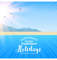 beautiful beach scene with sun and flying birds vector image