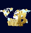 bitcoin around the world flat style design vector image vector image