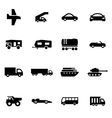 black vehicles icon set vector image vector image